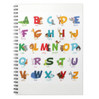 Cute Animal Alphabet Letters Spiral Notebook