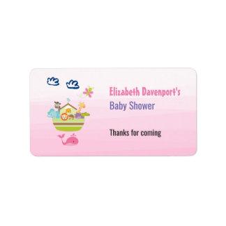 Cute Animal Ark Baby Shower Pink Address Label