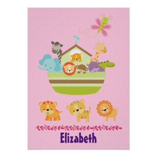 Cute Animal Ark on Pink Polka Dots Nursery Style Poster