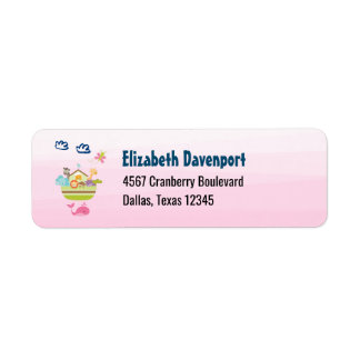 Cute Animal Ark with a Butterfly and Whale Pink Return Address Label