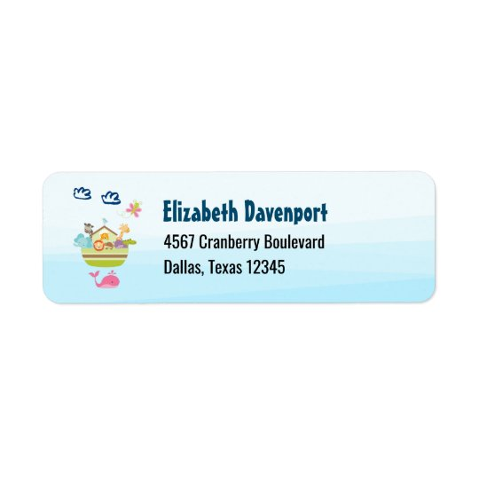 Cute Animal Ark with a Butterfly and Whale Return Address Label
