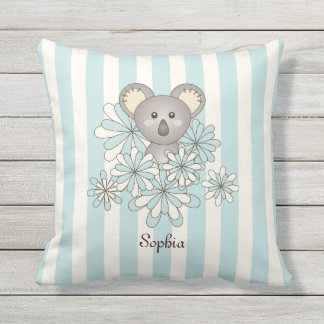 Cute Animal Baby Koala Kids Name Pastel Blue Cushion