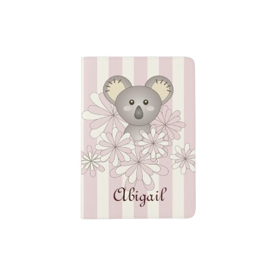 Cute Animal Baby Koala Pink Striped Kids Name