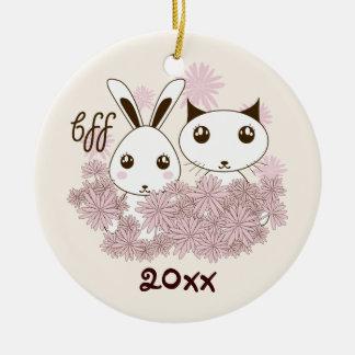 Cute Animal Cartoon Girl Friendship Kids Custom Christmas Ornament