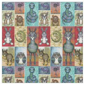 Cute Animal Collage Folk Art Design Fabric