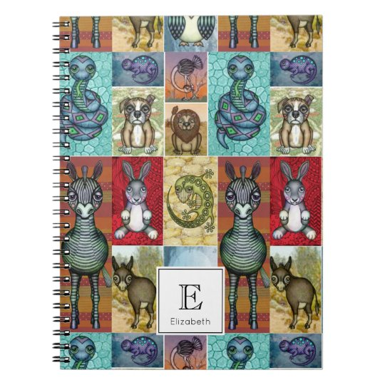 Cute Animal Collage Folk Art Design Personalised Notebooks