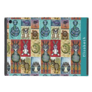 Cute Animal Collage Folk Art Design Personalized iPad Mini Case