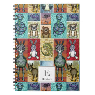 Cute Animal Collage Folk Art Design Personalized Notebook