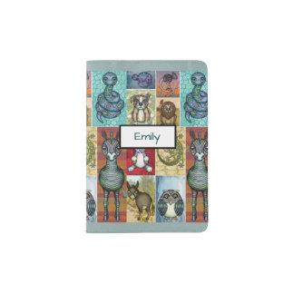 Cute Animal Collage Folk Art Design Personalized Passport Holder