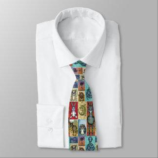 Cute Animal Collage Folk Art Design Tie