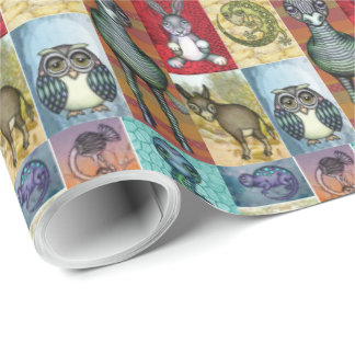 Cute Animal Collage Folk Art Design Wrapping Paper