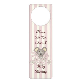 Cute Animal Do Not Disturb Baby Girl Nursery Pink Door Hanger