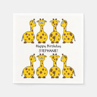 Cute Animal Giraffes Custom Kids Birthday Party Disposable Napkins