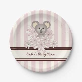 Cute Animal Girl Baby Shower | Kids Birthday Pink 7 Inch Paper Plate