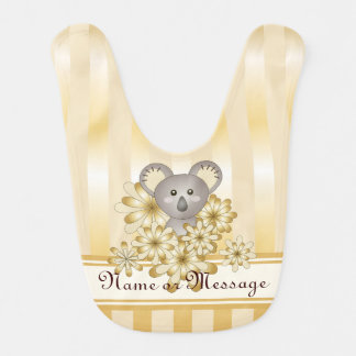 Cute Animal Koala Gold Effect Stripe Christmas Bib