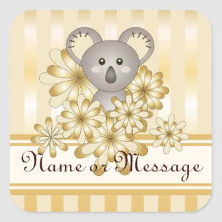 Cute Animal Koala Gold Effect Stripe Kids Template Square Sticker