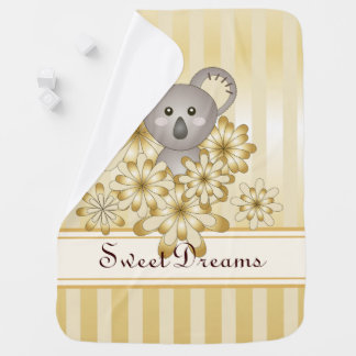 Cute Animal Koala Gold Effect Striped Christmas Baby Blanket