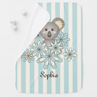 Cute Animal Koala Pastel Blue Stripe Personalized Baby Blanket