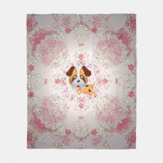 Cute Animal mosaic flowers Fleece Blanket, Medium