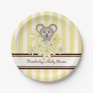 Cute Animal Neutral Baby Shower | Birthday Yellow 7 Inch Paper Plate