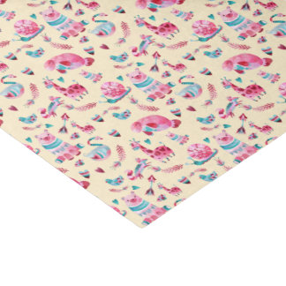 Cute  Animal Pattern in Pink & Green Watercolor Tissue Paper