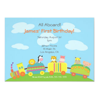 Cute Animal Train Birthday Party Invitation