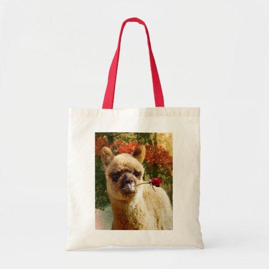 Cute Animals Alpaca Rose Tote Bag
