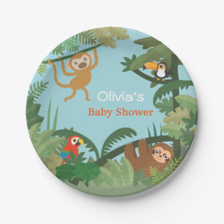 Cute Animals Amazon Jungle Baby Shower Supplies Paper Plate