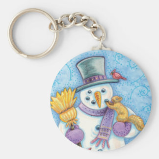 Cute Animals Building a Snowman for Christmas Basic Round Button Key Ring