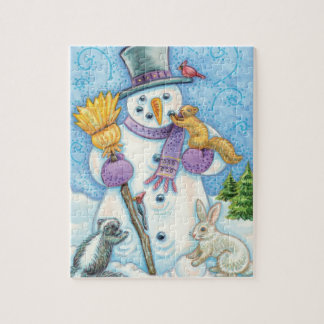 Cute Animals Building a Snowman for Christmas Jigsaw Puzzle