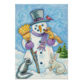 Cute Animals Building a Snowman for Christmas Print