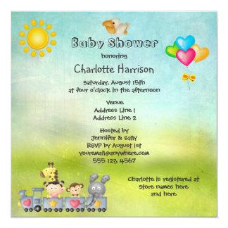 Cute Animals & Girl in Train Baby Shower 13 Cm X 13 Cm Square Invitation Card