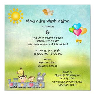 Cute Animals & Girl in Train Birthday Party 13 Cm X 13 Cm Square Invitation Card