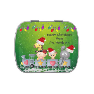 Cute Animals & Girl on Train Christmas Party Favor Jelly Belly Candy Tins