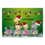 Cute Animals & Girl on Train Colourful Christmas