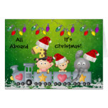 Cute Animals & Girl on Train Colourful Christmas Cards