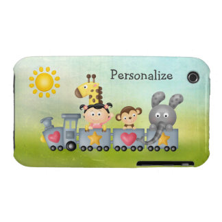Cute Animals & Girl on Train iPhone 3 Case-Mate Cases