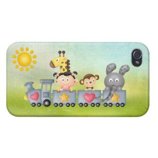 Cute Animals Girl on Train iPhone 4 Case