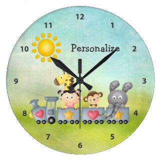 Cute Animals & Girl on Train Wall Clocks