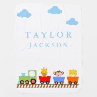 Cute Animals on Train Baby Blanket