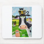 Cute animals painting Cow cat sheep frog Mousepad