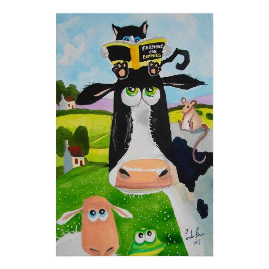 Cute animals painting Cow cat sheep frog Poster