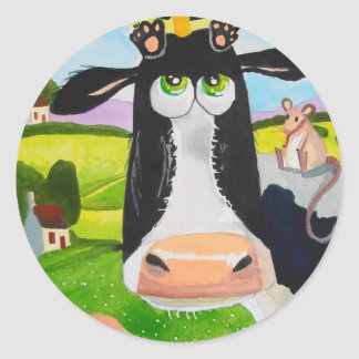 Cute animals painting Cow cat sheep frog Round Sticker