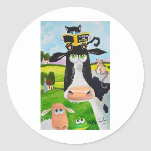 Cute animals painting Cow cat sheep frog Round Stickers