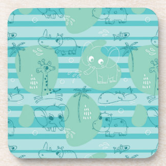 Cute animals playing with water 1 coasters