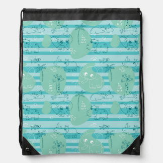 Cute animals playing with water 1 drawstring bag