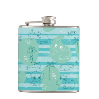 Cute animals playing with water 1 hip flask