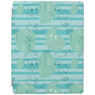 Cute animals playing with water 1 iPad cover