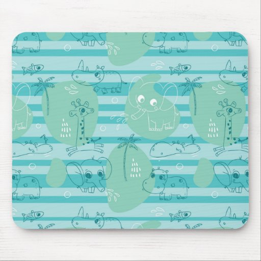 Cute animals playing with water 1 mouse pad