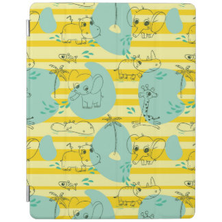 Cute animals playing with water 2 iPad cover